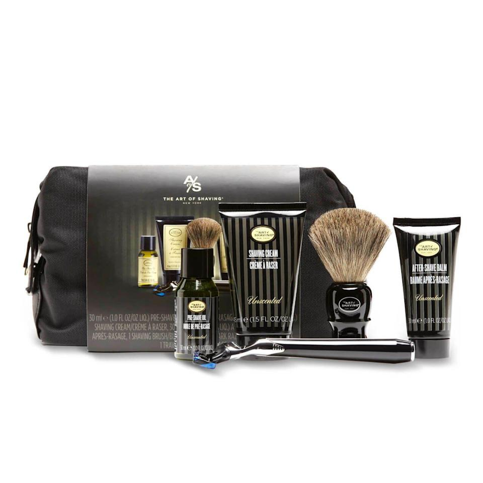 """<p><strong>The Art of Shaving</strong></p><p>amazon.com</p><p><strong>$76.00</strong></p><p><a href=""""https://www.amazon.com/dp/B0758LZJLB?tag=syn-yahoo-20&ascsubtag=%5Bartid%7C10051.g.36652775%5Bsrc%7Cyahoo-us"""" rel=""""nofollow noopener"""" target=""""_blank"""" data-ylk=""""slk:SHOP NOW"""" class=""""link rapid-noclick-resp"""">SHOP NOW</a></p><p>He might have aged out of playing James Bond, but this travel shaving kit includes everything a 007 spy would need for a clean jaw.</p>"""