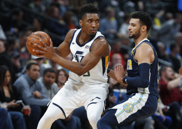 "<a class=""link rapid-noclick-resp"" href=""/nba/teams/uth/"" data-ylk=""slk:Utah Jazz"">Utah Jazz</a> rookie standout <a class=""link rapid-noclick-resp"" href=""/ncaab/players/131179/"" data-ylk=""slk:Donovan Mitchell"">Donovan Mitchell</a> wanted to follow his father's footsteps into baseball. (AP)"