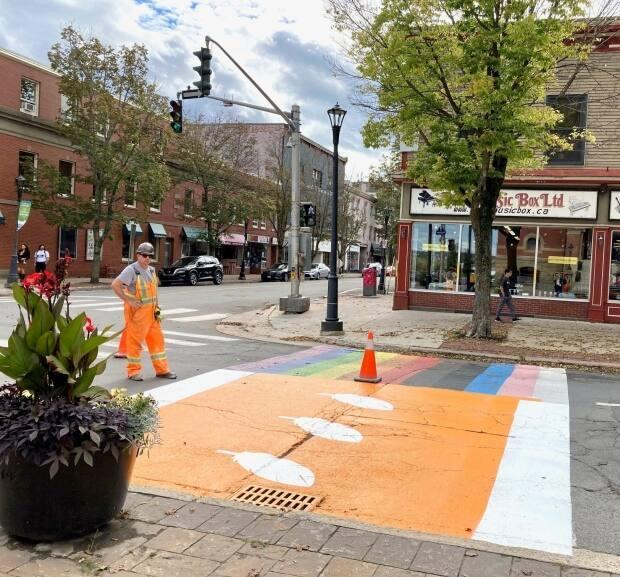 The City of Fredericton and St. Mary's First Nation are painting two crosswalks orange in honour of the National Day for Truth and Reconciliation. (City of Fredericton Facebook page - image credit)