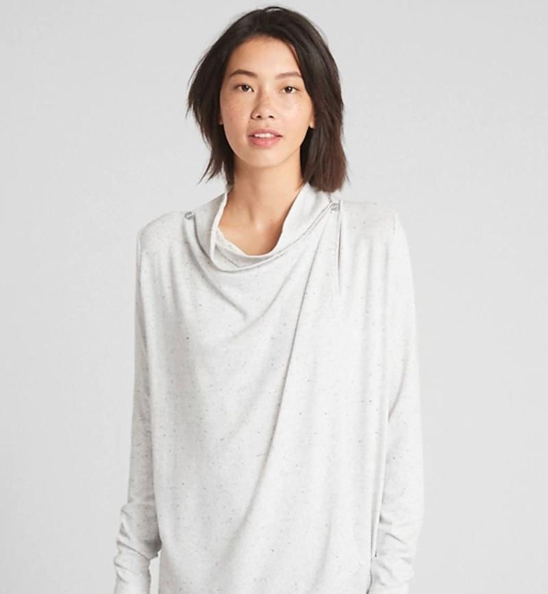 """If your partner is nursing, they cannot have enough nursing tops between the leakage, baby puke, and sweat. Get this nursing cardigan at <a href=""""https://www.gapcanada.ca/browse/product.do?cid=1028364&amp;pcid=1023948&amp;vid=1&amp;pid=375603003"""" target=""""_blank"""" rel=""""noopener noreferrer"""">Gap</a> for $59.95 (online only).&nbsp;"""