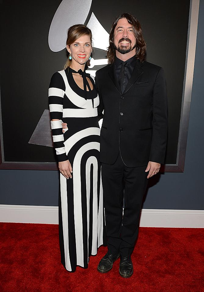 LOS ANGELES, CA - FEBRUARY 10:  Musician Dave Grohl (R) and Jordyn Blum attend the 55th Annual GRAMMY Awards at STAPLES Center on February 10, 2013 in Los Angeles, California.  (Photo by Larry Busacca/WireImage)