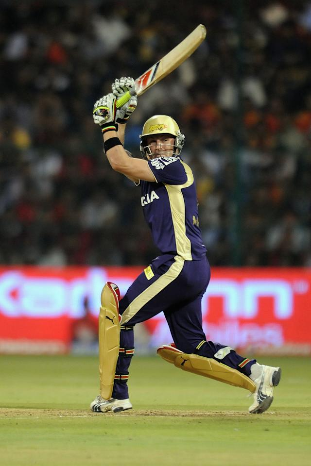 BANGALORE, INDIA - APRIL 10:  Brendon Mccullum plays a shot during the 2010 DLF Indian Premier League T20 group stage match between Royal Challengers Bangalore and Kolkata Knight Riders played at Chinnaswamy Stadium on April 10, 2010 in Bangalore, India.  (Photo by Pal Pillai-IPL 2010/IPL via Getty Images)