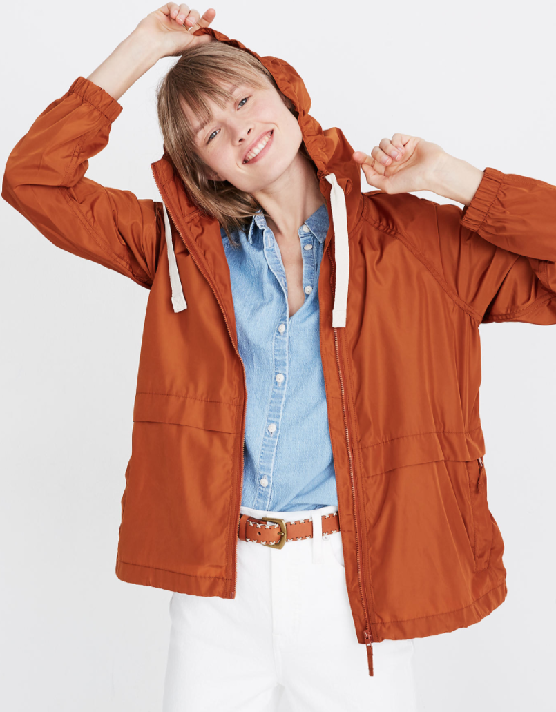 """<p><strong>Madewell</strong></p><p>madewell.com</p><p><strong>$89.50</strong></p><p><a href=""""https://go.redirectingat.com?id=74968X1596630&url=https%3A%2F%2Fwww.madewell.com%2Fraincheck-packable-raincoat-AI147.html&sref=https%3A%2F%2Fwww.goodhousekeeping.com%2Fbeauty%2Ffashion%2Fg32585880%2Frainy-day-outfits%2F"""" rel=""""nofollow noopener"""" target=""""_blank"""" data-ylk=""""slk:Shop Now"""" class=""""link rapid-noclick-resp"""">Shop Now</a></p><p>Not only is this raincoat cute and functional on a rainy day, but <strong>it packs down into a cute fanny pack</strong>. Throw it in your bag for a quick change or wear it as a fanny pack when you are out and about to make sure you don't get caught in a downpour.</p>"""
