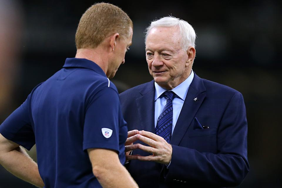 NEW ORLEANS, LOUISIANA - SEPTEMBER 29: Jerry Jones owner of the Dallas Cowboys talks to head coach Jason Garrett before a game against the New Orleans Saints at the Mercedes Benz Superdome on September 29, 2019 in New Orleans, Louisiana. (Photo by Jonathan Bachman/Getty Images)