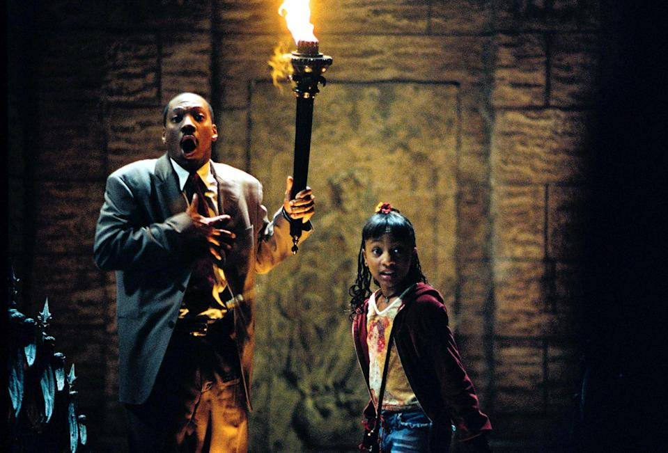 <p><strong>Rating:</strong> PG</p> <p><strong>Age of kids that can handle it:</strong> 10 and up</p> <p><strong>Why it's scary:</strong> The kids in this movie get chased several times by ghosts, demons, and skeletons, and they're also locked in a chest at one point, which can be scary for younger children. The movie revolves around a creepy mansion and most of it takes place in the dark.</p> <p><span>Watch <b>The Haunted Mansion</b> on Disney+ now!</span></p>