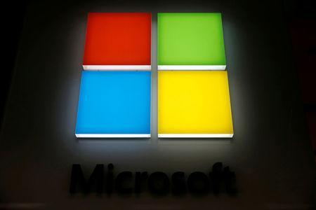 The logo of Dow Jones Industrial Average stock market index listed company Microsoft (MSFT) is seen in Los Angeles, California, United States, April 22, 2016. REUTERS/Lucy Nicholson/File Photo