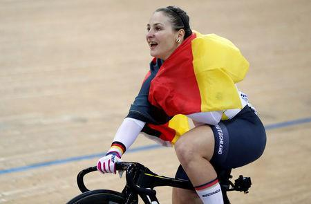 Cycling - UCI Track World Championships - Women's Sprint, Final - Hong Kong, China - 14/4/17 - Germany's Kristina Vogel celebrates after winning gold. REUTERS/Bobby Yip