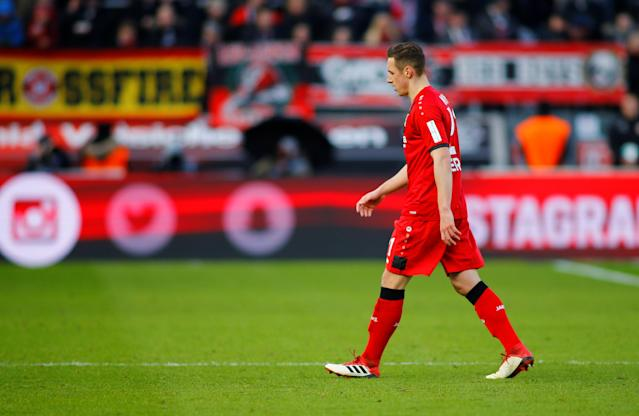 Soccer Football - Bundesliga - Bayer Leverkusen vs Schalke 04 - BayArena, Leverkusen, Germany - February 25, 2018 Bayer Leverkusen's Dominik Kohr is sent off after receiving a second yellow card REUTERS/Thilo Schmuelgen DFL RULES TO LIMIT THE ONLINE USAGE DURING MATCH TIME TO 15 PICTURES PER GAME. IMAGE SEQUENCES TO SIMULATE VIDEO IS NOT ALLOWED AT ANY TIME. FOR FURTHER QUERIES PLEASE CONTACT DFL DIRECTLY AT + 49 69 650050