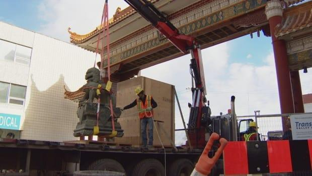 The Harbin Gate, a gift from Edmonton's sister city in China, was moved in 2017 for the LRT expansion. Advocates are hoping that Chinatowns across the country can get some support from government on revitalization. (Trevor Wilson/CBC - image credit)