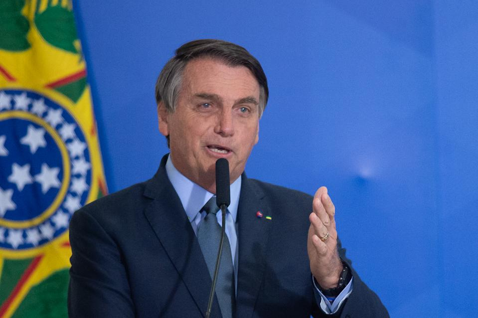 BRASILIA, BRAZIL - SEPTEMBER 16: President of Brazil Jair Bolsonaro speaks during the ceremonyin which Eduardo Pazuello takes office as Minister ofHealthamidst the coronavirus(COVID-19) pandemic at the on September 16, 2020 in Brasilia.Pazuellotook over as interim minister on May 16 this year. Brazil has over 4.382,000 confirmed positive cases of Coronavirus and has over 133,119 deaths. (Photo by Andressa Anholete/Getty Images)