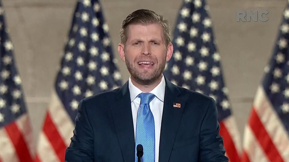Eric Trump addresses the virtual Republican National Convention from the Mellon Auditorium in Washington, D.C., Tuesday. (Screengrab via Reuters TV)