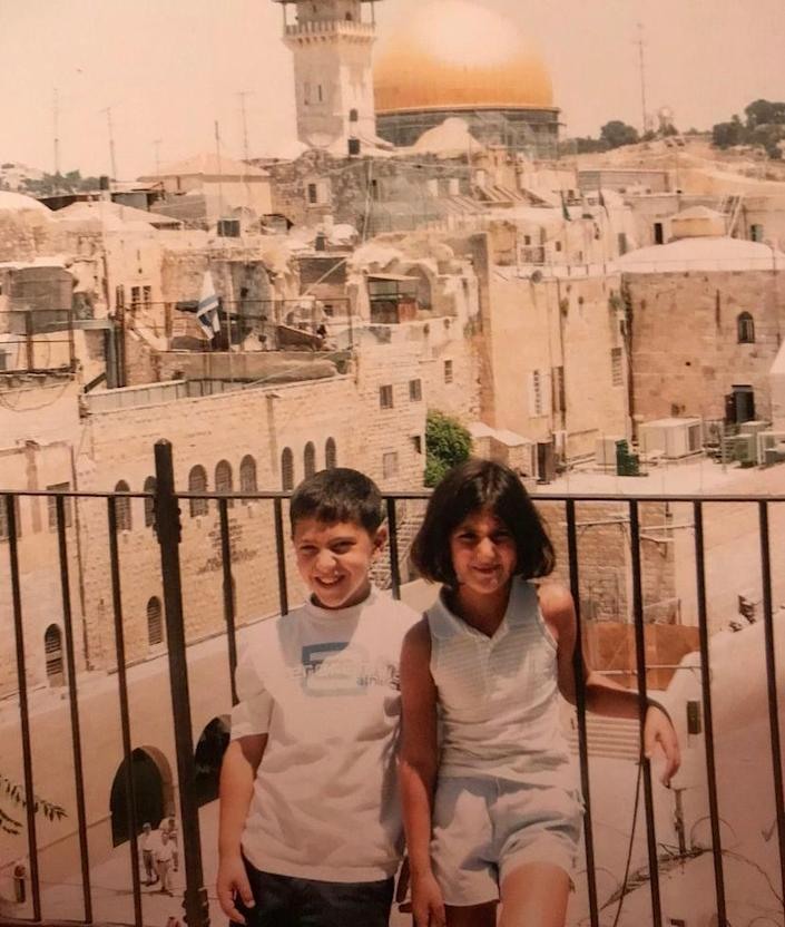 Des Moines Register journalist Andrea Sahouri and her brother, Alex Sahouri, photographed in Jerusalem during a childhood visit to Palestine.