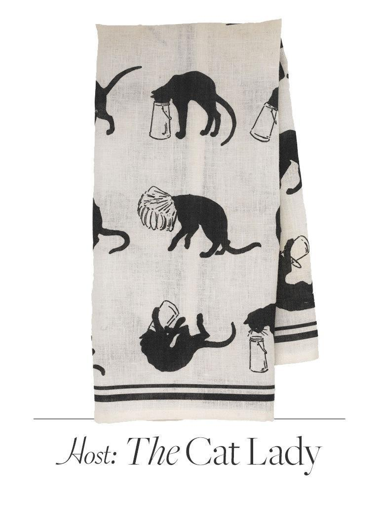 Basic black and white, this dishtowel looks good in any kitchen. But it's still cat-crazy enough to delight an obsessive. $20