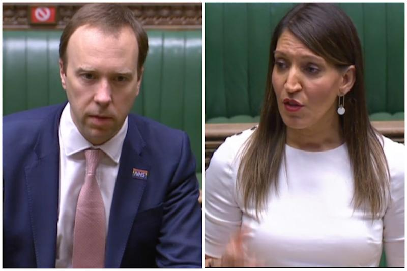 Matt Hancock and Rosena Allin-Khan clashed in the Commons on Tuesday. (Parliamentlive.tv)