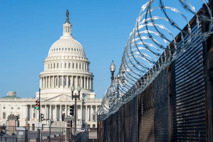 Razor wire is seen on fencing near the U.S. Capitol on March 4, 2021.