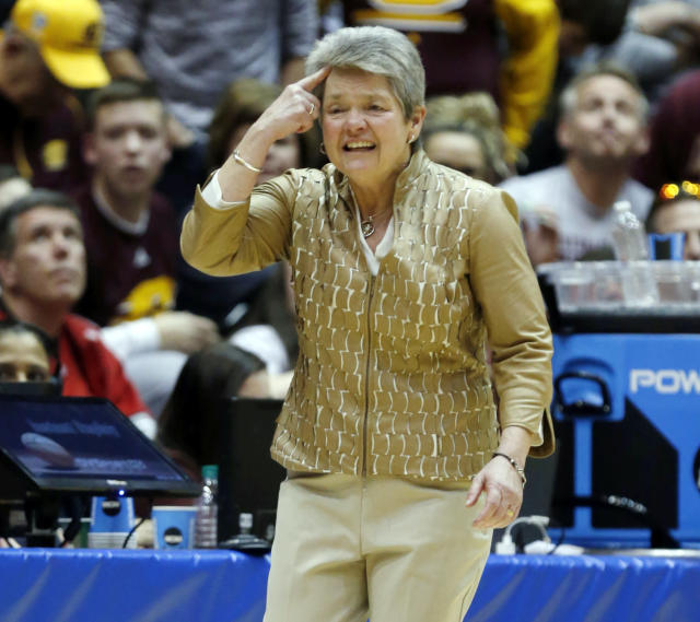 FILE -In this Monday, March 19, 2018, file photo, Central Michigan coach Sue Guevara directs her team during the second half of a second-round game against Ohio State in the NCAA women's college basketball tournament in Columbus, Ohio. When Guevara took her team south to cross the border last week, the school hadn't experienced any success in the NCAA women's basketball tournament. When the players and coaches returned, they had beaten Ohio State on its home court and opened with a victory over LSU. (AP Photo/Paul Vernon, File)
