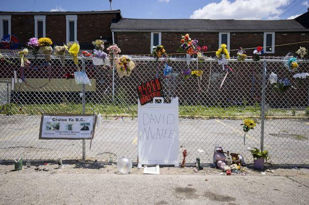 PHOTO: A makeshift memorial for David McAtee along a fence outside the location where he was shot and killed by police in the early hours of June 6, 2020, in Louisville, Ky. (Brett Carlsen/Getty Images)