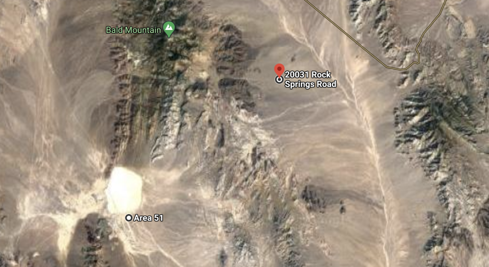 The Medlin ranch, located at 20031 Rock Springs Road Road in Nevada is located next to Area 51.  Source: Google Maps