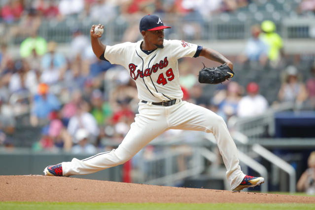 Atlanta Braves starting pitcher Julio Teheran delivers in the first inning of a baseball game against the Miami Marlins, Sunday, May 20, 2018, in Atlanta. (AP Photo/Todd Kirkland)
