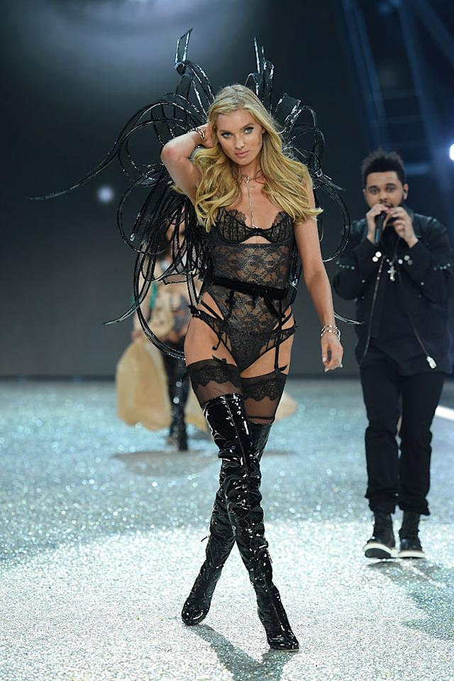 <p>Behati Prinsloo opened the Victoria's Secret Fashion Show two years in a row. But for 2016, Elsa Hosk got the honor and stepped out in a black lace bodysuit with thigh-high PVC boots. <em>(Photo: Getty Images)</em> </p>