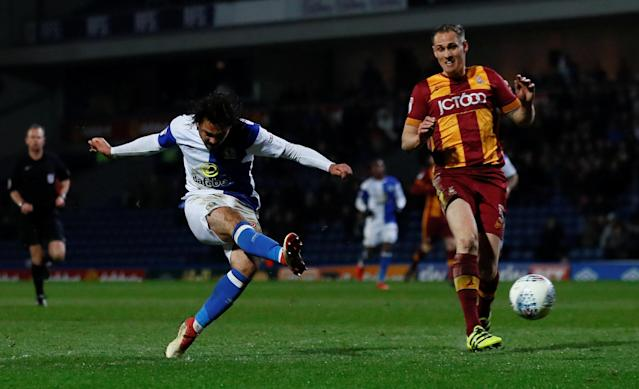 "Soccer Football - League One - Blackburn Rovers vs Bradford City - Ewood Park, Blackburn, Britain - March 29, 2018 Blackburn Rovers Bradley Dack scores his sides first goal Action Images/Jason Cairnduff EDITORIAL USE ONLY. No use with unauthorized audio, video, data, fixture lists, club/league logos or ""live"" services. Online in-match use limited to 75 images, no video emulation. No use in betting, games or single club/league/player publications. Please contact your account representative for further details."
