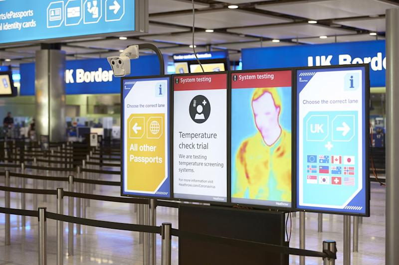 Check point: thermal imaging cameras will assess passengers' temperature as they pass through the airport terminal: Heathrow Airport