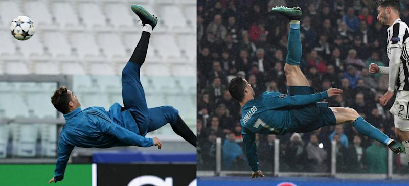 Cristiano Ronaldo In Training On Monday Left Vs In Tuesdays Champions League Game Against Juventus Photos Getty Side By Side Yahoo Sports