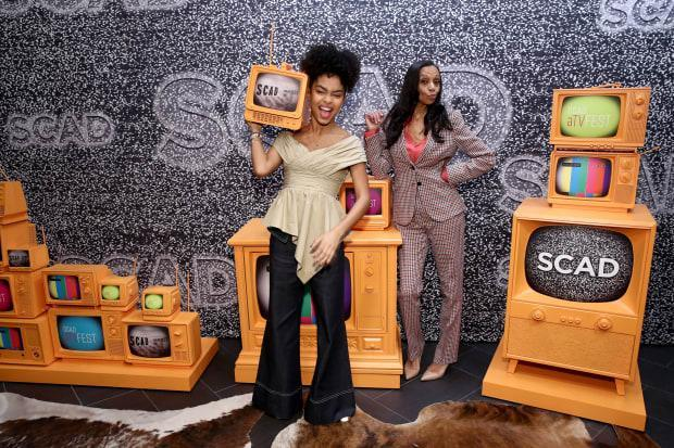 Yara Shahidi and Cole before the 'In Conversation: The Spirit And Style Of 'Grown-ish' With Yara Shahidi And Michelle R. Cole' panel at <em>SCAD aTVfest 2020 in Atlanta.</em>