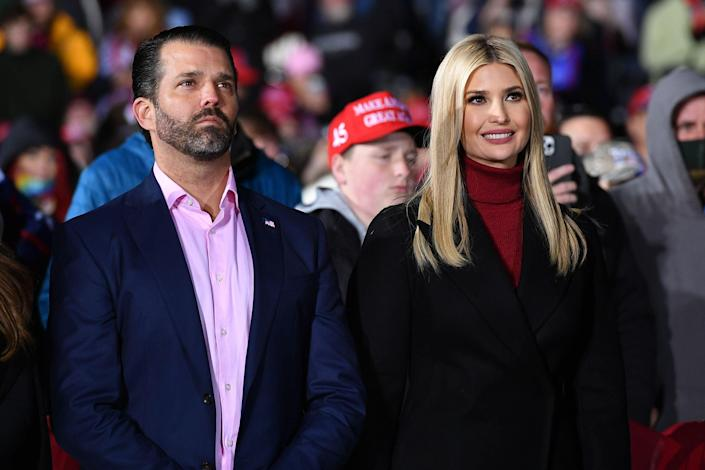 <p>Ivanka praises her work for American families in farewell message as Don Jr compares Biden to Disney's Uncle Scar</p> (MANDEL NGAN/AFP via Getty Images)