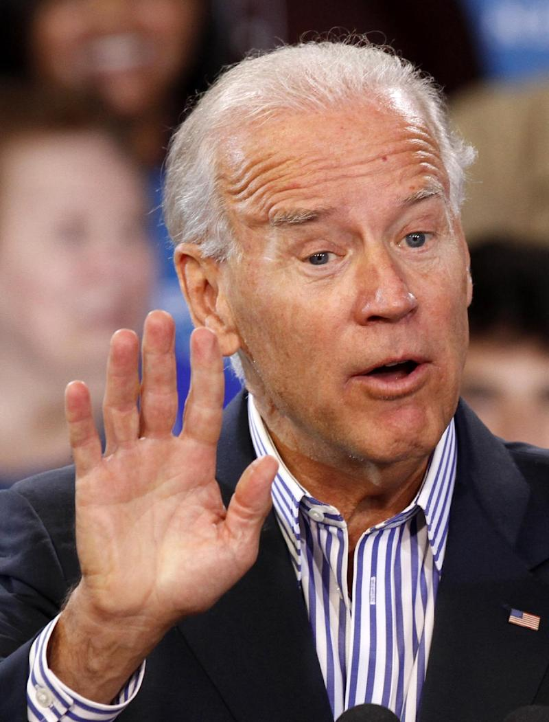 Vice President Joe Biden gestures during a rally at the Chesterfield County Fairgrounds exhibition hall in Chesterfield, Va., Tuesday, Sept. 25, 2012.   (AP Photo/Steve Helber)