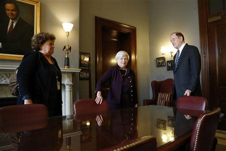 Yellen, nominee to be the next chairman of the U.S. Federal Reserve, meets with Senate Banking Commitee member Senator Shelby in his office on Capitol Hill in Washington