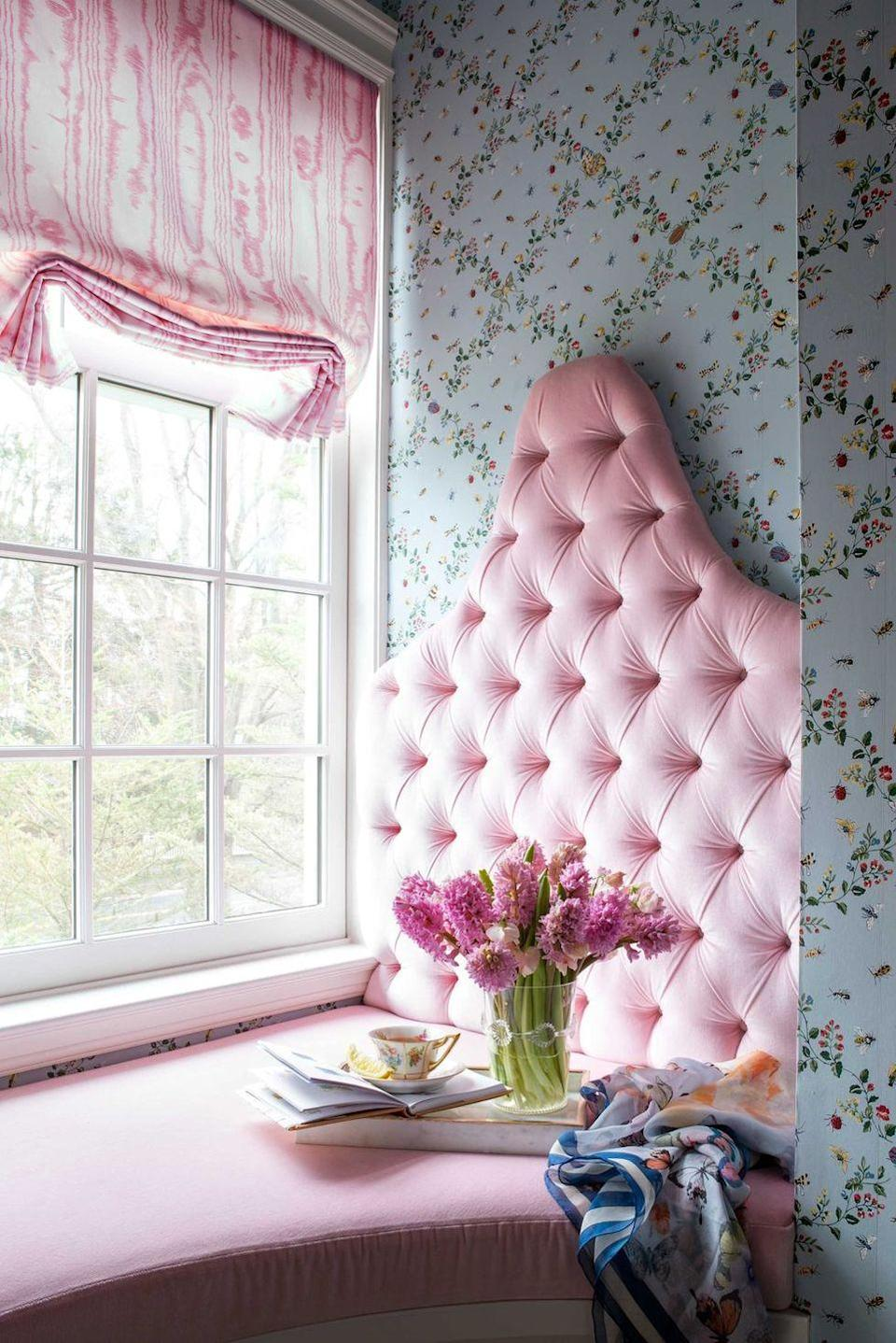 """<p>If their bedroom is big enough, carve out a little window seat in the corner so they have somewhere private to relax and hang out. Have fun with things like upholstery, headboards, and curtains, like <a href=""""https://brookecrewinteriors.com/"""" rel=""""nofollow noopener"""" target=""""_blank"""" data-ylk=""""slk:Brooke Crew"""" class=""""link rapid-noclick-resp"""">Brooke Crew</a> did here. And of course, wallpaper is another easy way to bring in color and a fun print. Opt for the removable kind or choose a permanent one you both love. </p>"""