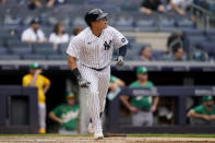 New York Yankees' Gio Urshela runs the bases after hitting a go-ahead solo home run off Oakland Athletics relief pitcher Jesus Luzardo in the eighth inning of a baseball game, Saturday, June 19, 2021, in New York. (AP Photo/John Minchillo)