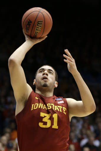 Iowa State forward Georges Niang shoots against Ohio State in the first half of a third-round game of the NCAA college basketball tournament Sunday March 24, 2013, in Dayton, Ohio. (AP Photo/Al Behrman)