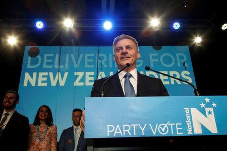 FILE PHOTO: New Zealand Prime Minister Bill English speaks to supporters during an election night event in Auckland, New Zealand, September 23, 2017.   REUTERS/Nigel Marple/File Photo