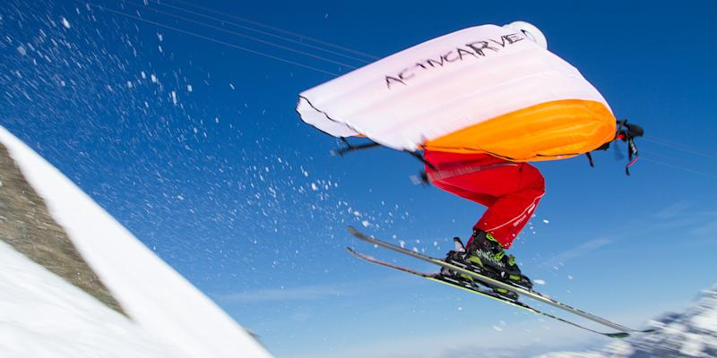 Catch some serious air on the slopes with Wingjump, a wingsuit that's just for skiers