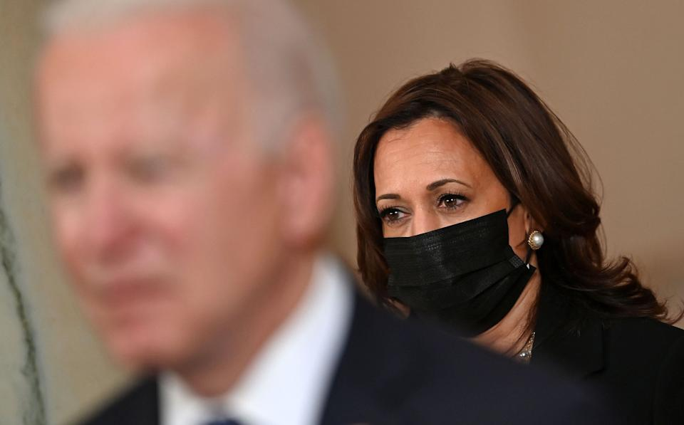 Some conservatives have tried to imply that Vice President Kamala Harris is the one truly in charge at the White House. (Photo: Brandan Smialowski/Getty Images)