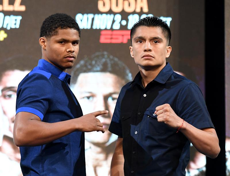 LAS VEGAS, NEVADA - SEPTEMBER 13: Boxers Shakur Stevenson (L) and Joet Gonzalez pose during a news conference announcing Top Rank Boxing's fall schedule at the KA Theatre at MGM Grand Hotel & Casino on September 13, 2019 in Las Vegas, Nevada. The two will fight for the vacant WBO featherweight title on October 26 in Reno, Nevada. (Photo by Ethan Miller/Getty Images)