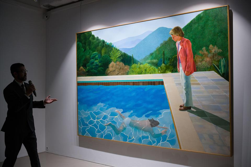 This David Hockney painting sold for a record-breaking $90.3 million at auction. (Photo: Getty Images)