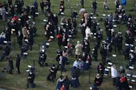 <p>Views of the socially-distant inauguration crowd </p>