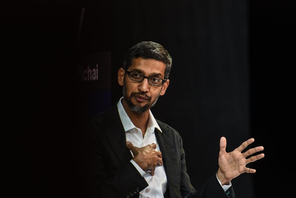 Sundar Pichai speaks at the New York Times DealBook conference in New York City (Getty Images)