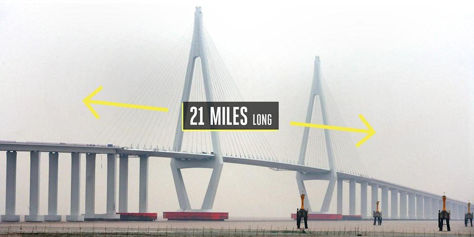 "<p><strong>Jiaxing, China</strong></p><p>Easily one of the <a href=""https://www.dangerousroads.org/asia/china/6100-hangzhou-bay-bridge.html"" rel=""nofollow noopener"" target=""_blank"" data-ylk=""slk:longest trans-oceanic bridges"" class=""link rapid-noclick-resp"">longest trans-oceanic bridges</a> in the world at over 21 miles, the Hangzhou Bay Bridge features cable-stayed sections while connecting Jiaxing and Ningbo across the Hangzhou Bay in eastern China. Opened in 2008, the bridge curves across the water in nine sections—two of them cable-stayed sections. The concrete and steel bridge includes a service center at roughly the midpoint, including a fuel station, restaurant, hotel, and conference center.</p>"