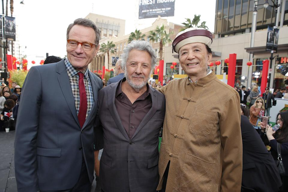 Bryan Cranston, Dustin Hoffman and James Hong seen at DreamWorks Animation and Twentieth Century Fox World Premiere of 'Kung Fu Panda 3' at TCL Chinese Theater on Saturday, Jan. 16, 2016, in Hollywood, CA. (Photo by Eric Charbonneau/Invision for Twentieth Century Fox/AP Images)