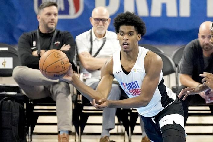 Arizona State's Josh Christopher participates in the NBA Draft Combine at the Wintrust Arena Thursday, June 24, 2021, in Chicago. (AP Photo/Charles Rex Arbogast)