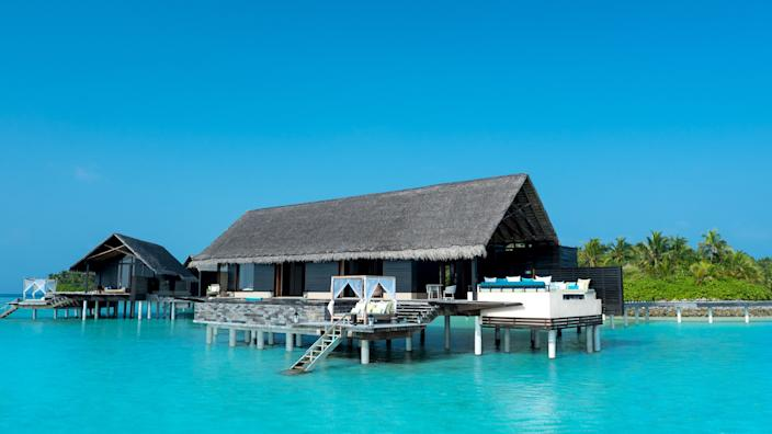 Elba and his family stayed in one of these water villas at One&Only Reethi Rah resort in the Maldives.