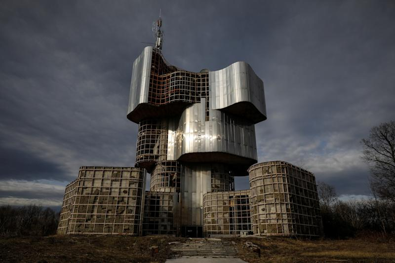 The Monument to the Uprising of the People of Kordun and Banija stands in Petrova Gora, Croatia. Examples of Yugoslav brutalism include the huge memorials commemorating the struggle against fascism, often placed in dramatic rural settings. Many of those pieces of art remain in disrepair, such as the Monument to the Uprising of the People of Kordun and Banija. (Photo: Marko Djurica/Reuters)