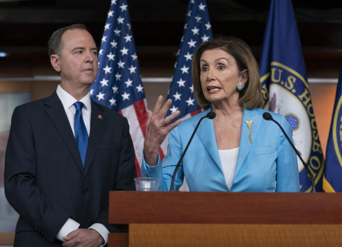 Speaker of the House Nancy Pelosi, D-Calif., is joined by House Intelligence Committee Chairman Adam Schiff, D-Calif., at a news conference in Washington, Oct. 2, 2019. (Photo: J. Scott Applewhite/AP)