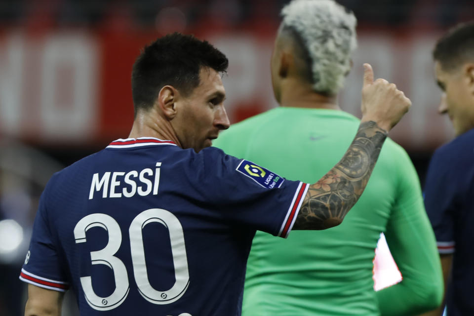 Lionel Messi during the French championship Ligue 1 football match between Stade de Reims and Paris Saint-Germain on August 29, 2021 at Auguste Delaune stadium in Reims, France  (Photo by Mehdi Taamallah/NurPhoto via Getty Images)