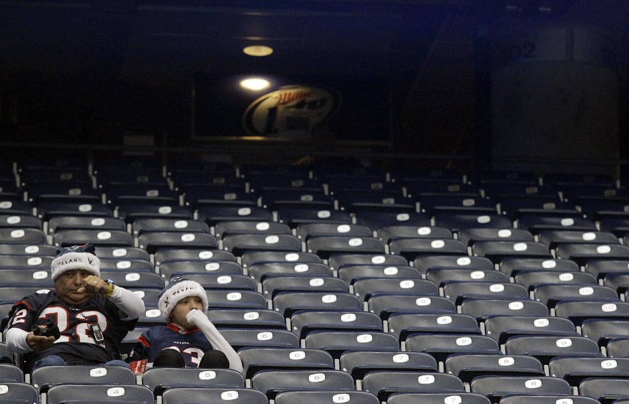 Houston Texans fans sit in the stands after an NFL football game between the Houston Texans and the Jacksonville Jaguars Sunday, Nov. 24, 2013, in Houston. The Jaguars won 13-6. (AP Photo/Patric Schneider)