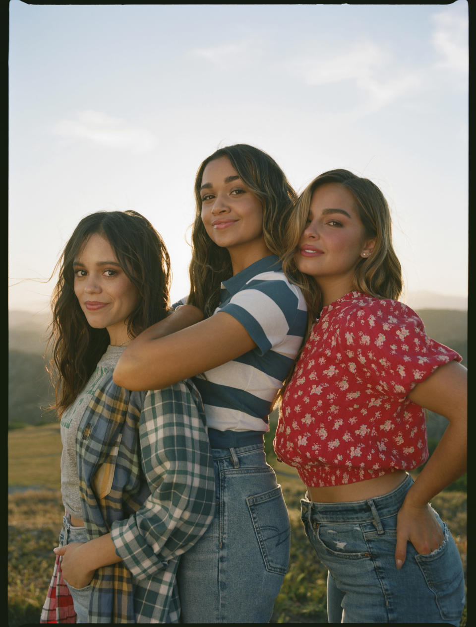 Looks from American Eagle's fall 2021 campaign, with cast members, Jenna Ortega, Madison Bailey and Addison Rae. - Credit: Courtesy Photo AEO